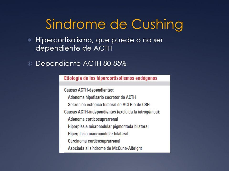 Sindrome de Cushing Hipercortisolismo, que puede o no ser dependiente de ACTH.