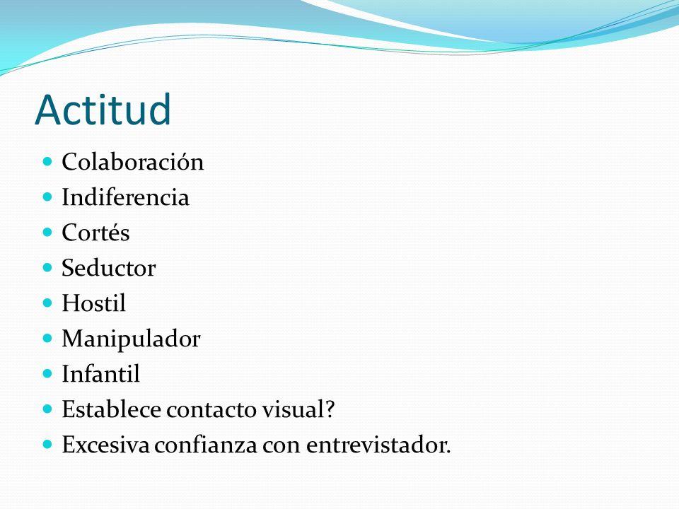 Actitud Colaboración Indiferencia Cortés Seductor Hostil Manipulador
