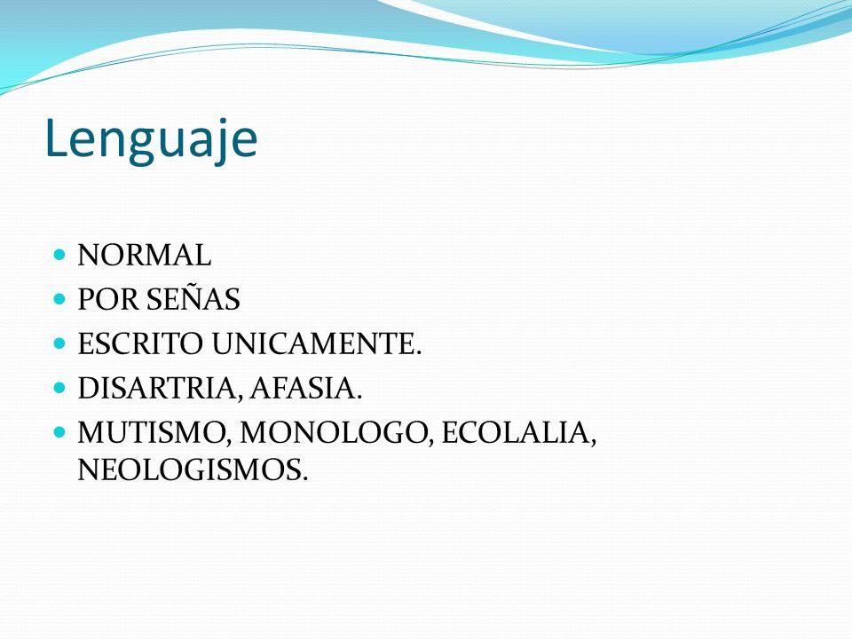 Lenguaje NORMAL POR SEÑAS ESCRITO UNICAMENTE. DISARTRIA, AFASIA.
