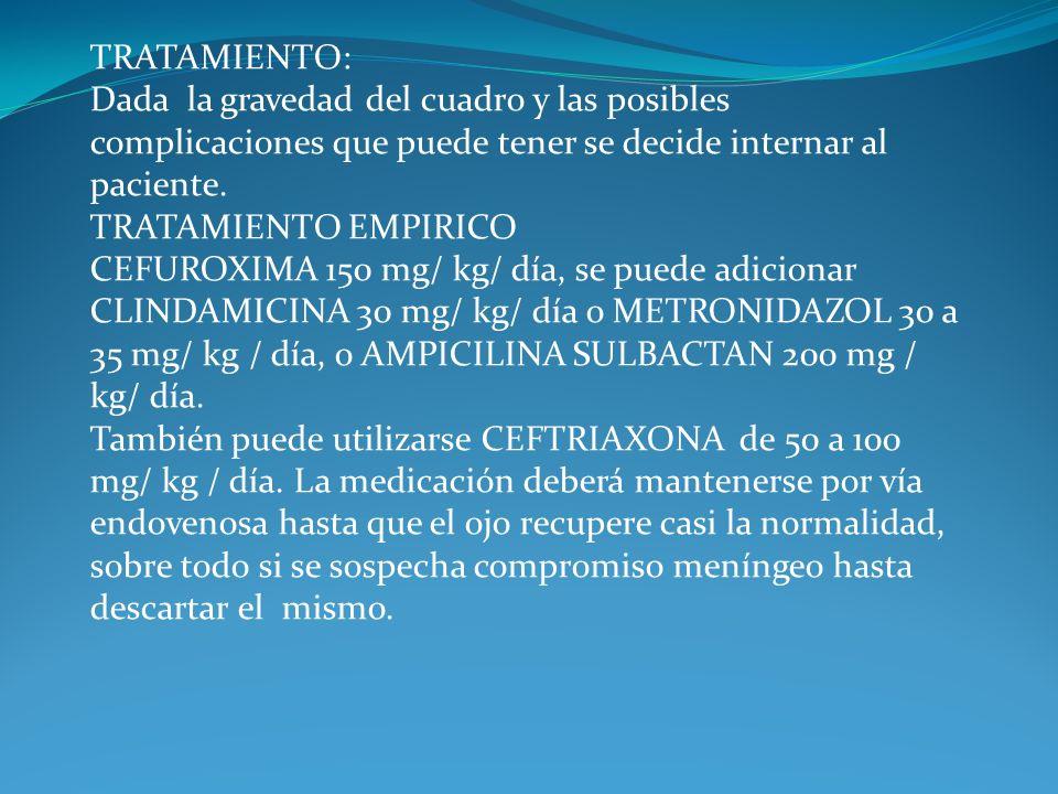 TRATAMIENTO: Dada la gravedad del cuadro y las posibles complicaciones que puede tener se decide internar al paciente. TRATAMIENTO EMPIRICO.