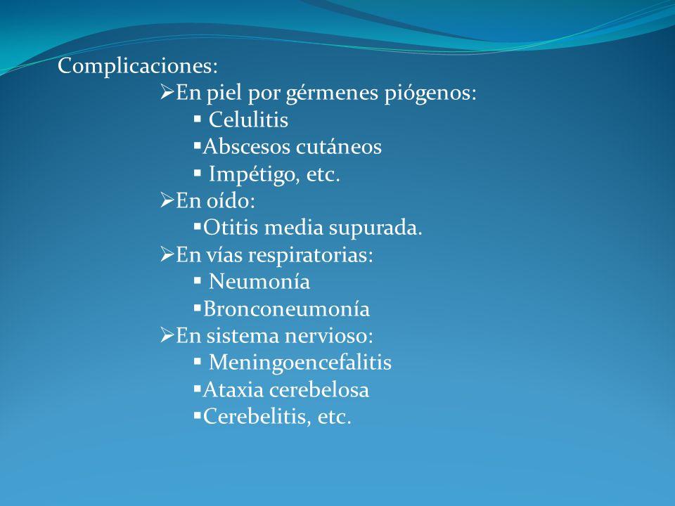 Complicaciones: En piel por gérmenes piógenos: Celulitis. Abscesos cutáneos. Impétigo, etc. En oído: