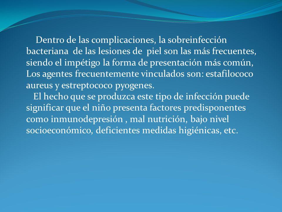 Dentro de las complicaciones, la sobreinfección bacteriana de las lesiones de piel son las más frecuentes, siendo el impétigo la forma de presentación más común, Los agentes frecuentemente vinculados son: estafilococo aureus y estreptococo pyogenes.