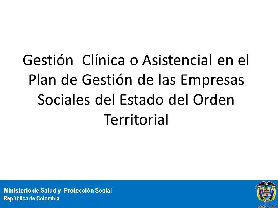 Gestión Clínica o Asistencial en el Plan de Gestión de las Empresas Sociales del Estado del Orden Territorial