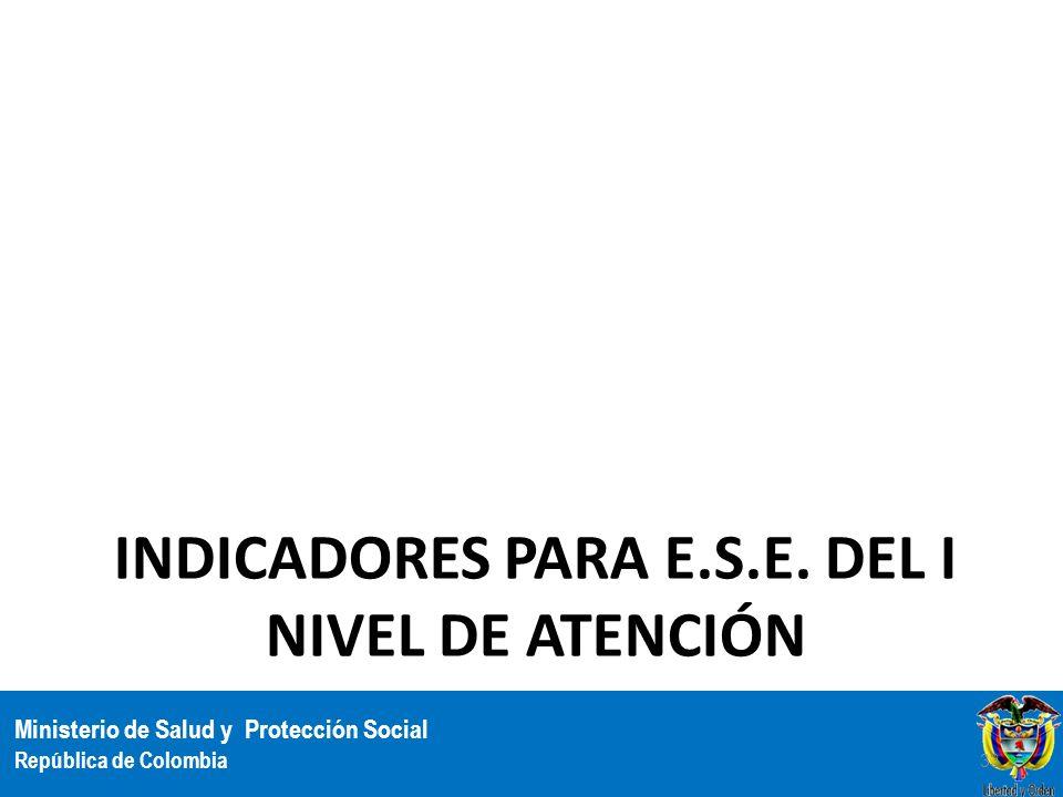Indicadores para E.S.E. del I nivel de atención