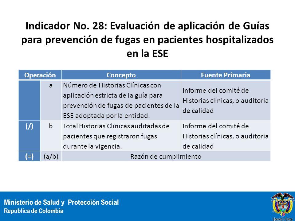 Indicador No. 28: Evaluación de aplicación de Guías para prevención de fugas en pacientes hospitalizados en la ESE