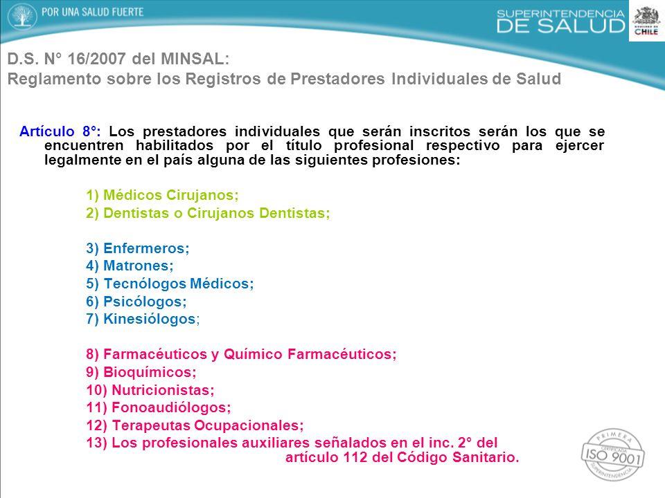 D.S. N° 16/2007 del MINSAL: Reglamento sobre los Registros de Prestadores Individuales de Salud