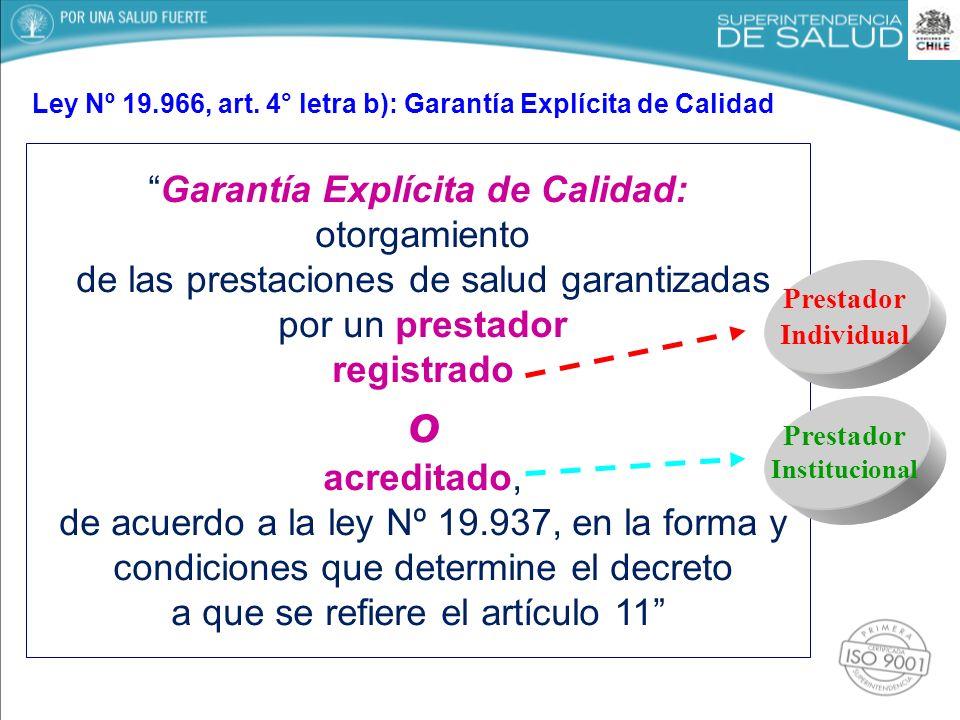 Garantía Explícita de Calidad: otorgamiento