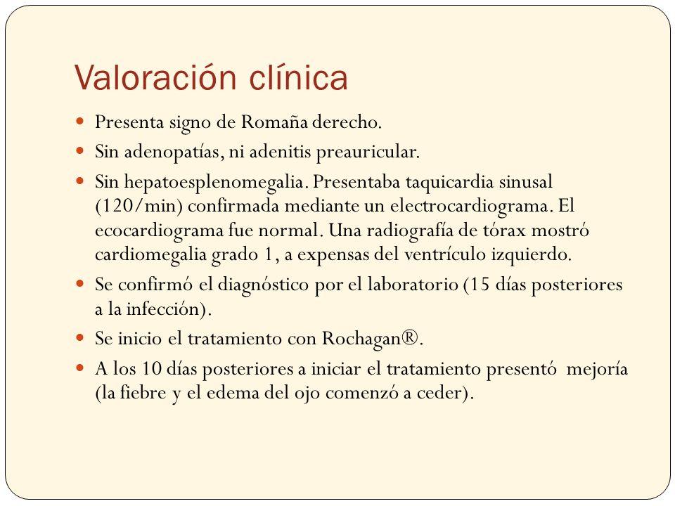 Valoración clínica Presenta signo de Romaña derecho.
