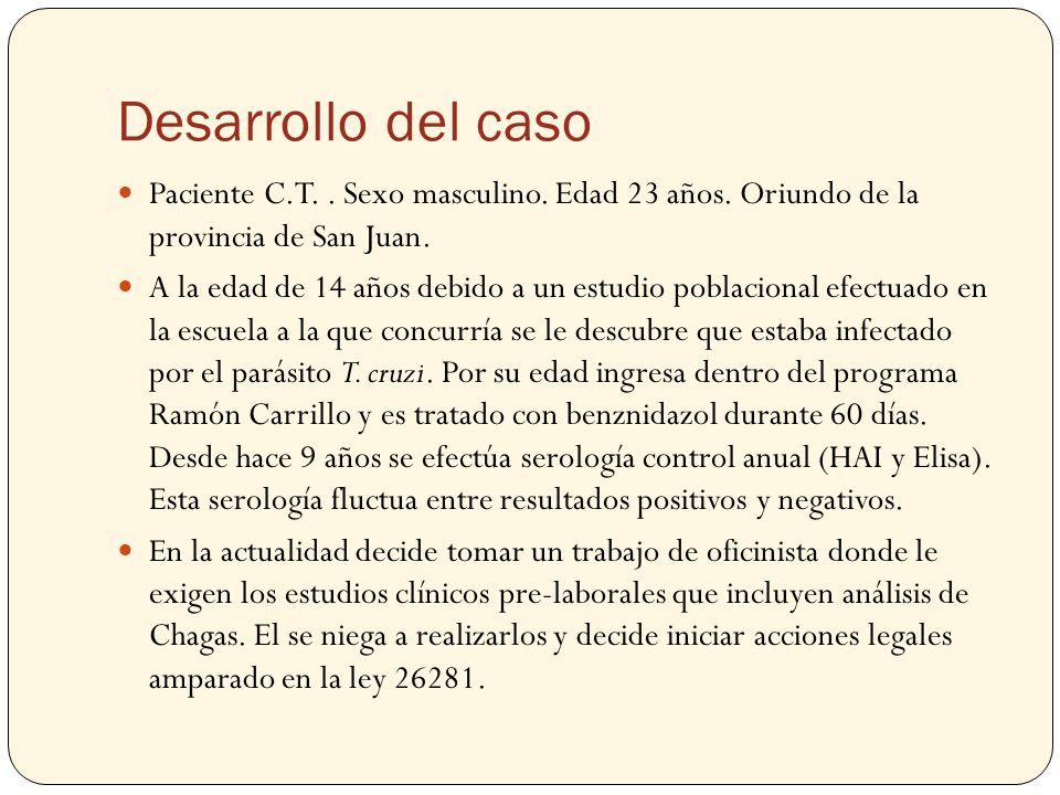 Desarrollo del caso Paciente C.T. . Sexo masculino. Edad 23 años. Oriundo de la provincia de San Juan.