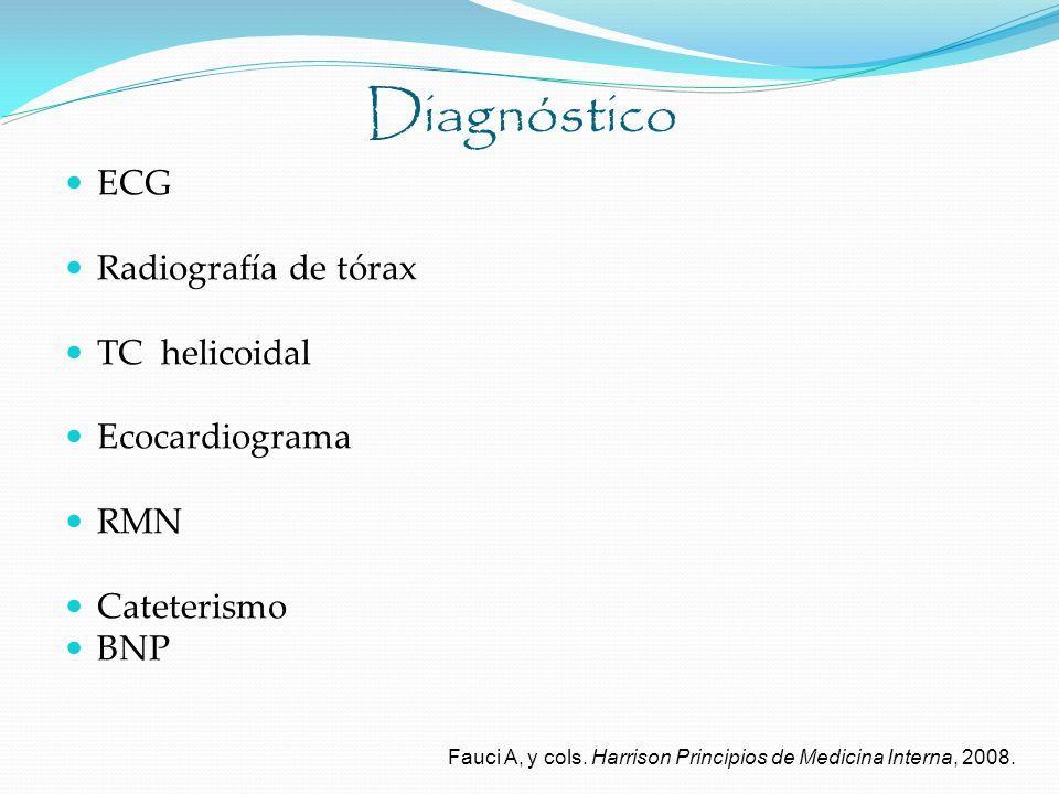 Diagnóstico ECG Radiografía de tórax TC helicoidal Ecocardiograma RMN
