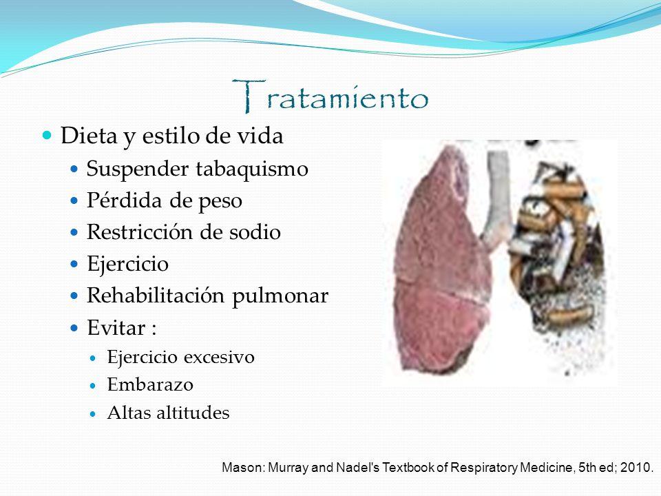 Tratamiento Dieta y estilo de vida Suspender tabaquismo