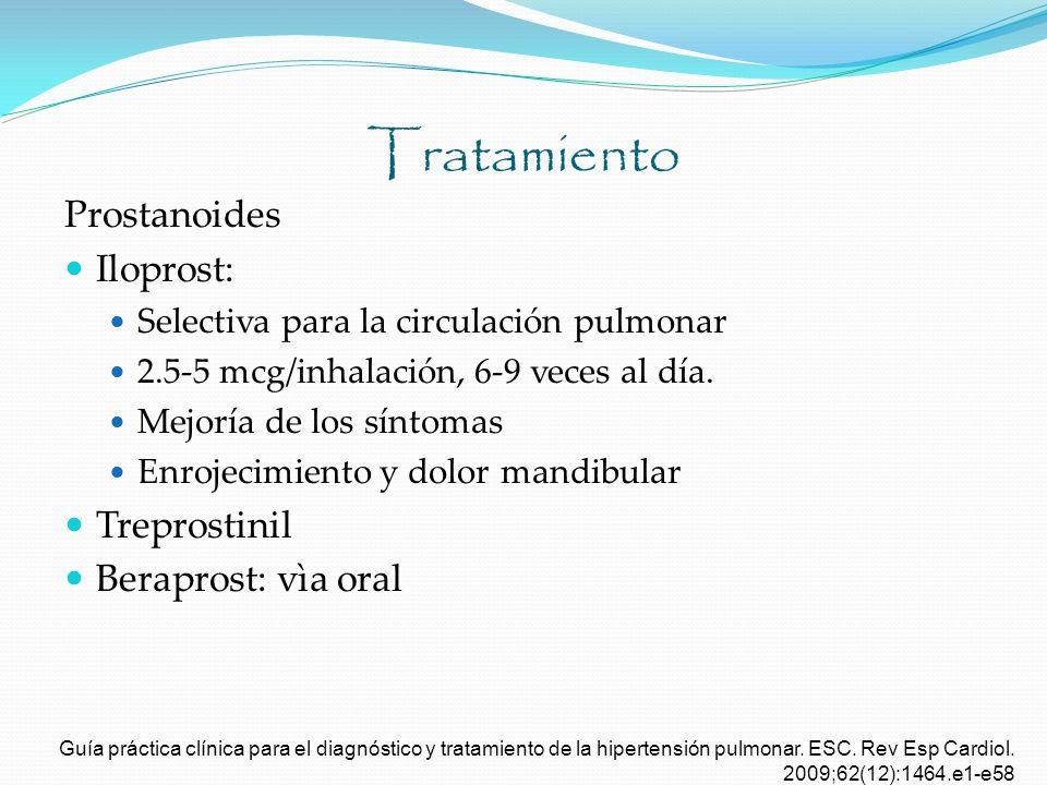 Tratamiento Prostanoides Iloprost: Treprostinil Beraprost: vìa oral