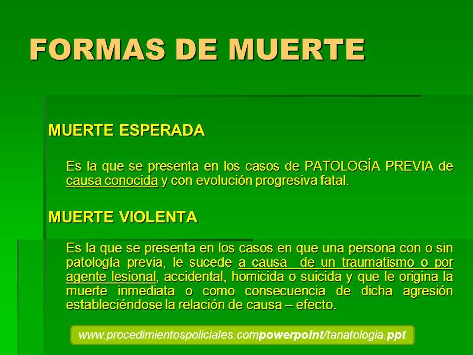 FORMAS DE MUERTE MUERTE ESPERADA MUERTE VIOLENTA