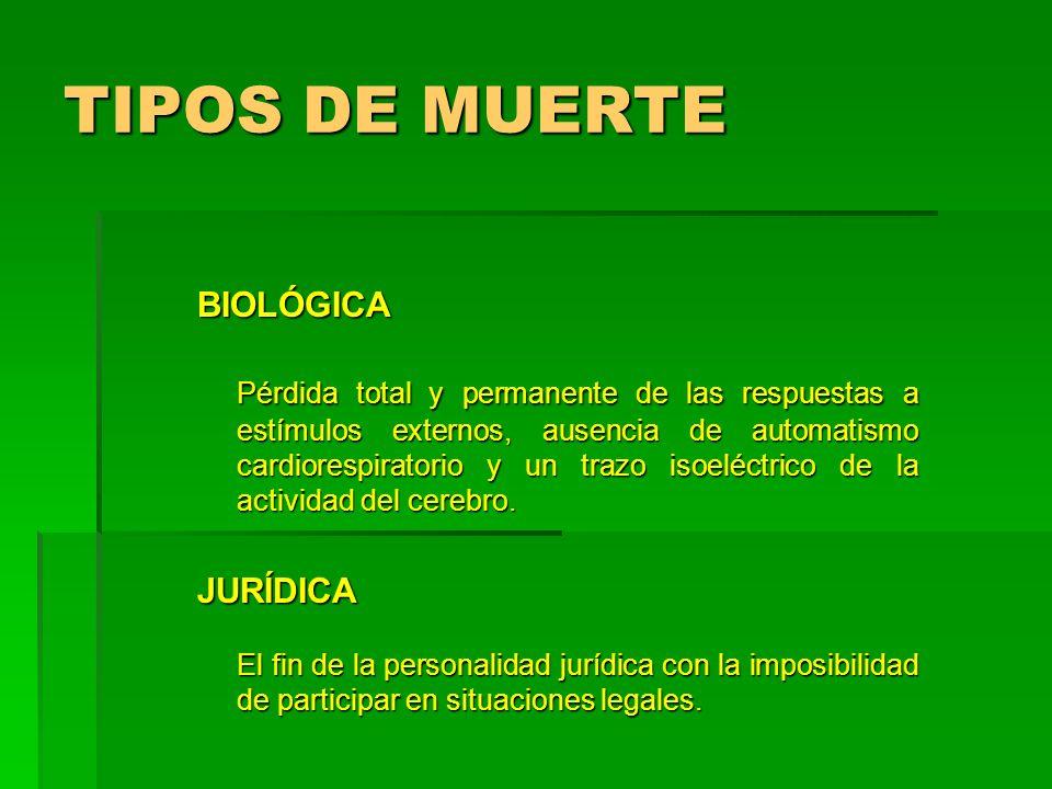 TIPOS DE MUERTE BIOLÓGICA.