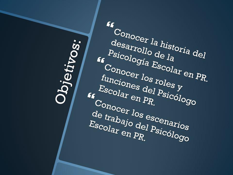 Conocer la historia del desarrollo de la Psicología Escolar en PR.