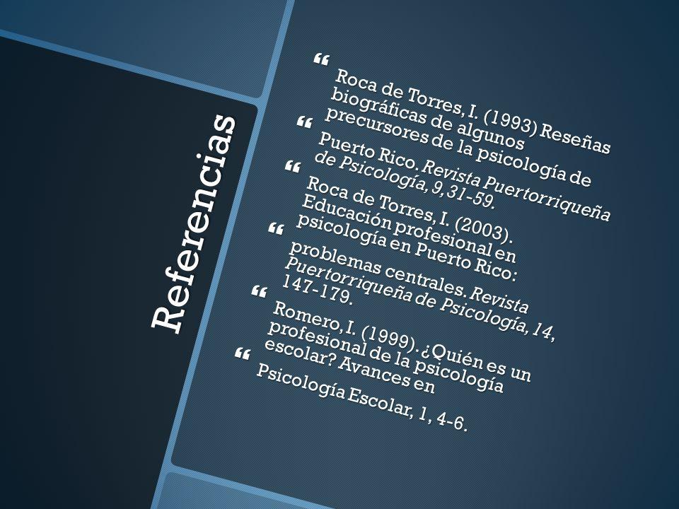 Roca de Torres, I. (1993) Reseñas biográficas de algunos precursores de la psicología de