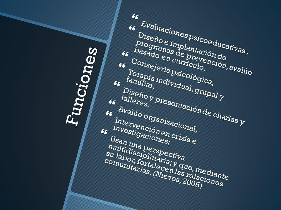 Funciones Evaluaciones psicoeducativas ,