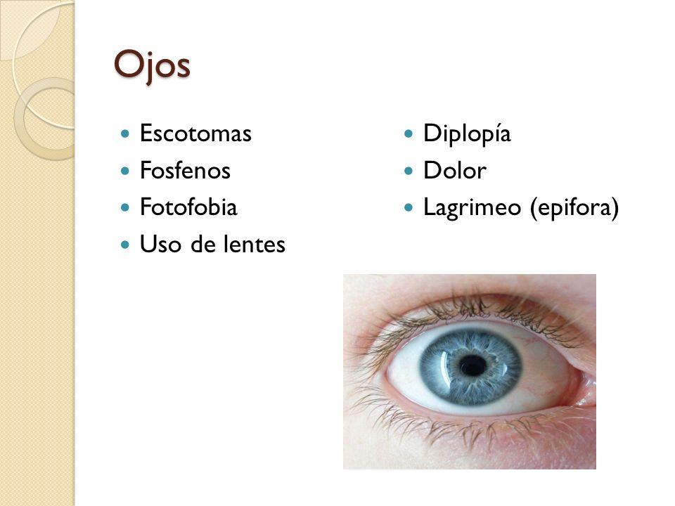 Ojos Escotomas Fosfenos Fotofobia Uso de lentes Diplopía Dolor