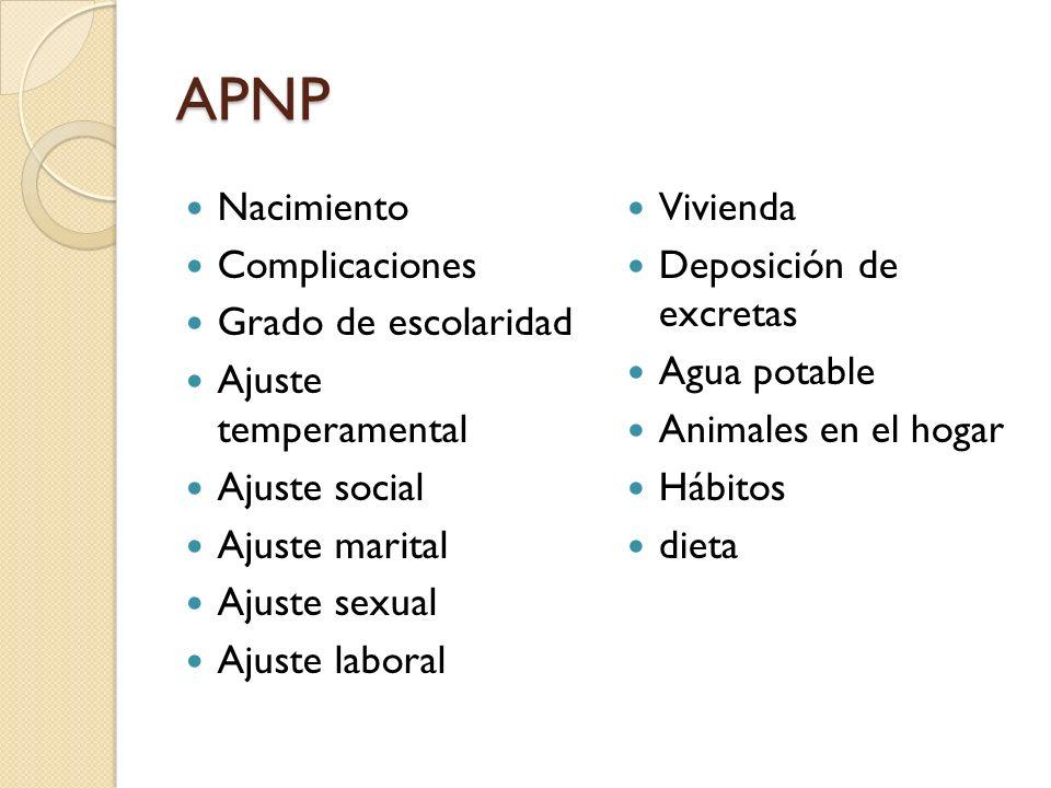 APNP Nacimiento Complicaciones Grado de escolaridad