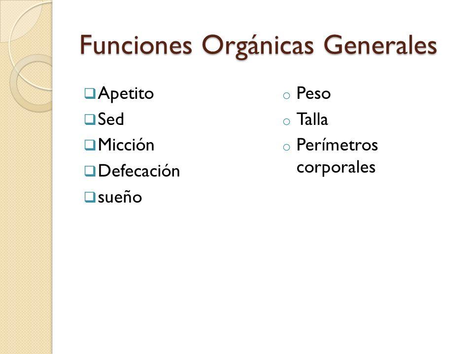 Funciones Orgánicas Generales