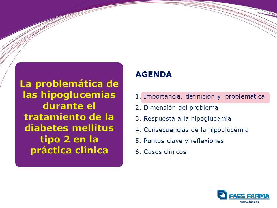 AGENDA 1. Importancia, definición y problemática. 2. Dimensión del problema. 3. Respuesta a la hipoglucemia.