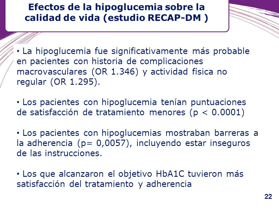 Efectos de la hipoglucemia sobre la calidad de vida (estudio RECAP-DM )