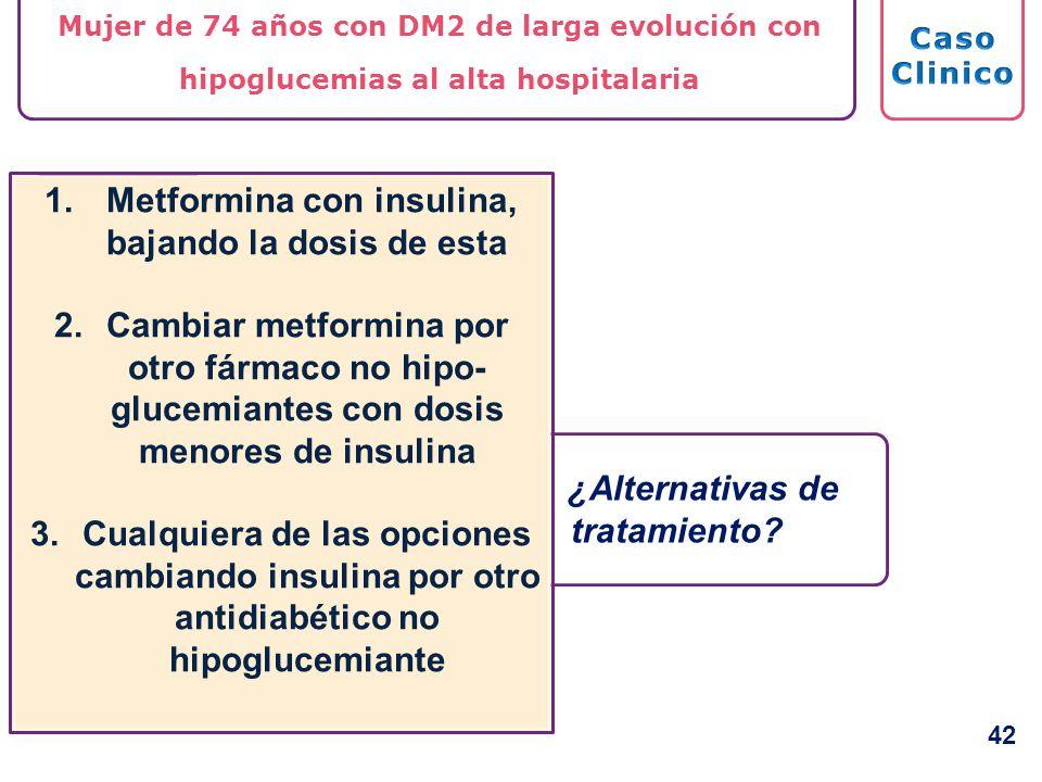 Metformina con insulina, bajando la dosis de esta