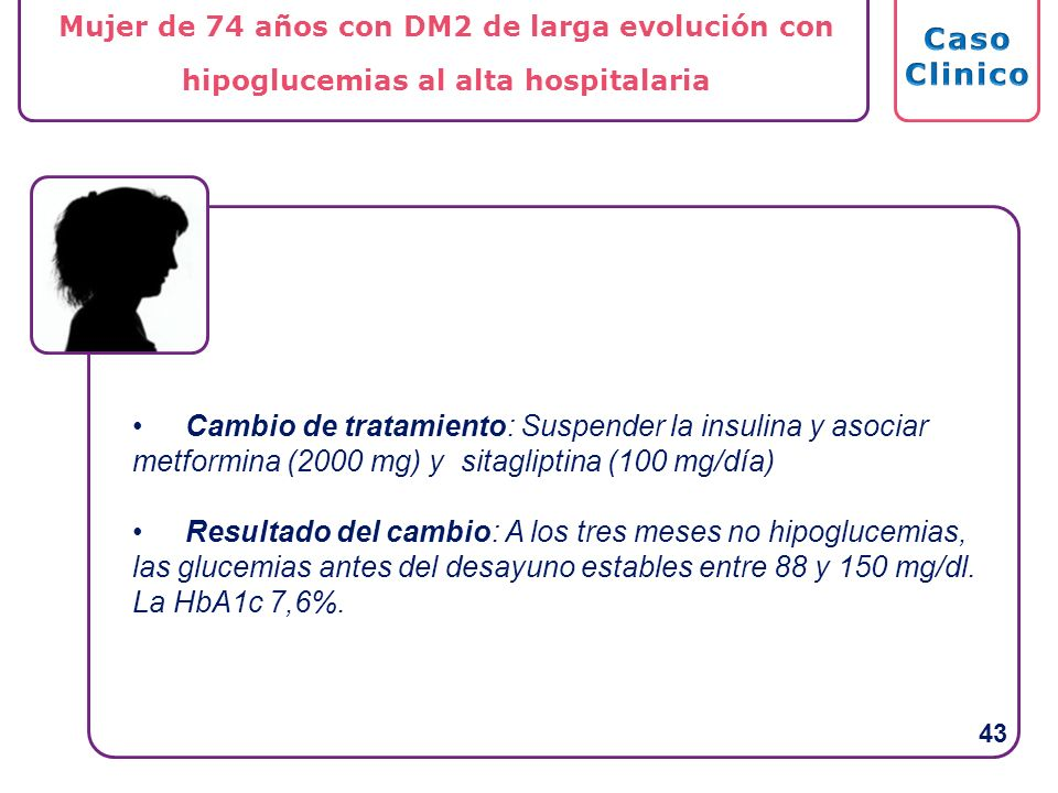 Mujer de 74 años con DM2 de larga evolución con hipoglucemias al alta hospitalaria