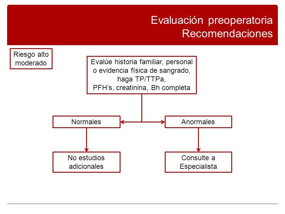 Evaluación preoperatoria Recomendaciones