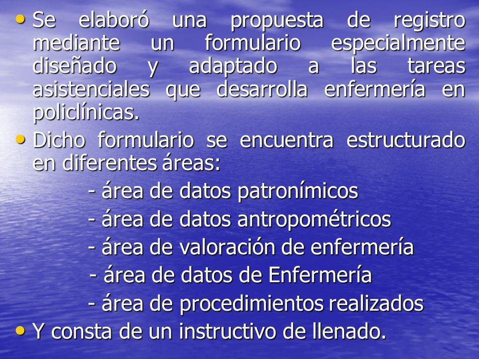Dicho formulario se encuentra estructurado en diferentes áreas: