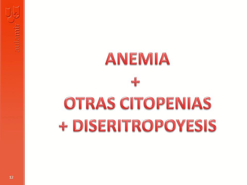 ANEMIA + OTRAS CITOPENIAS + DISERITROPOYESIS