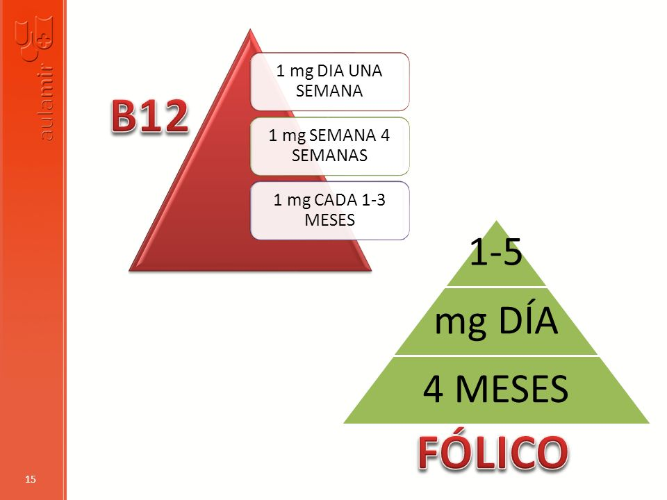 B12 FÓLICO 1-5 mg DÍA 4 MESES 1 mg DIA UNA SEMANA