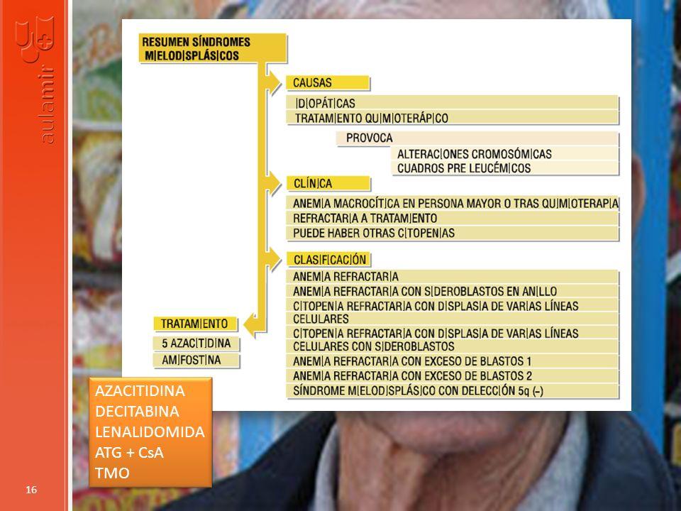 AZACITIDINA DECITABINA LENALIDOMIDA ATG + CsA TMO