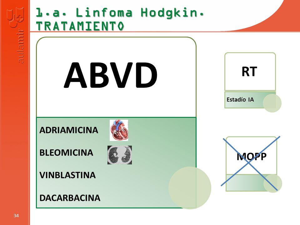 ABVD RT 1.a. Linfoma Hodgkin. TRATAMIENTO MOPP ADRIAMICINA BLEOMICINA