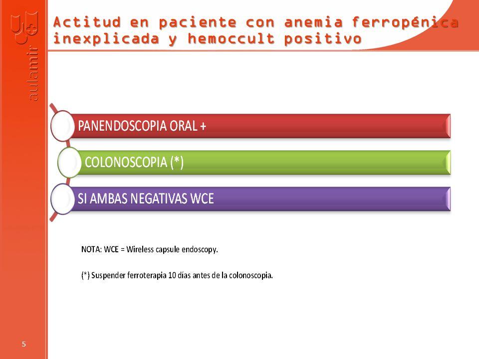 Actitud en paciente con anemia ferropénica inexplicada y hemoccult positivo