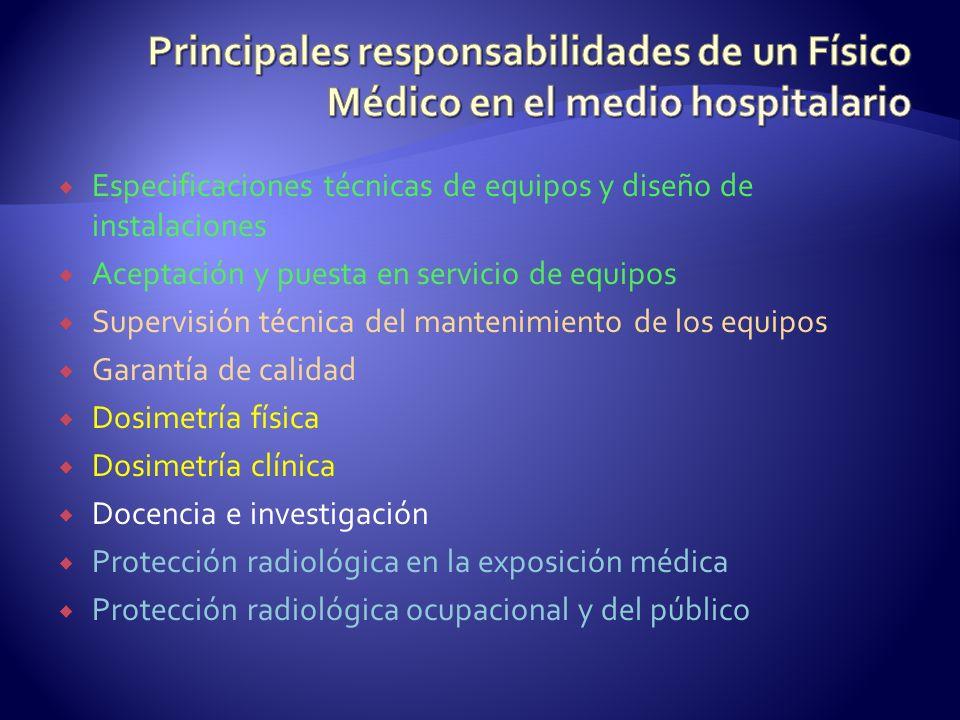 Principales responsabilidades de un Físico Médico en el medio hospitalario