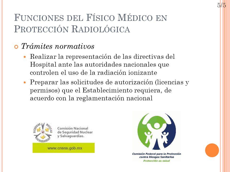 Funciones del Físico Médico en Protección Radiológica