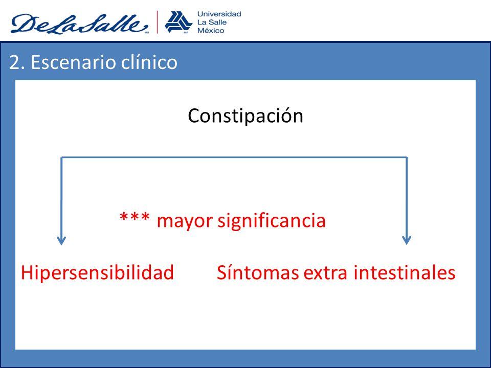 2. Escenario clínico Constipación. *** mayor significancia.