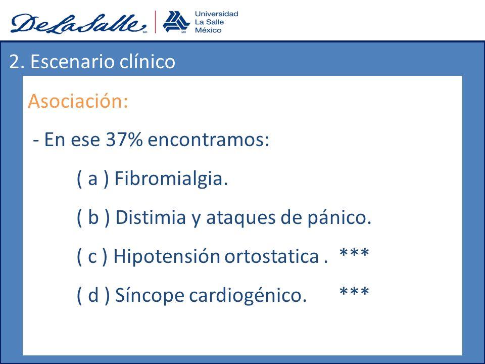 2. Escenario clínico Asociación: - En ese 37% encontramos: ( a ) Fibromialgia. ( b ) Distimia y ataques de pánico.