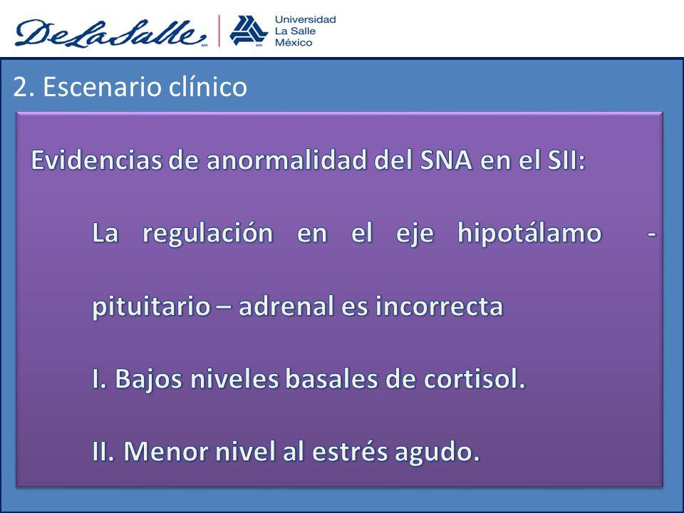 2. Escenario clínico Evidencias de anormalidad del SNA en el SII: La regulación en el eje hipotálamo - pituitario – adrenal es incorrecta.