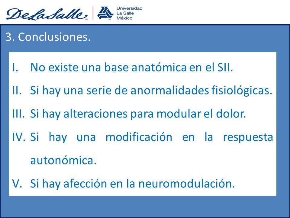3. Conclusiones. No existe una base anatómica en el SII. Si hay una serie de anormalidades fisiológicas.