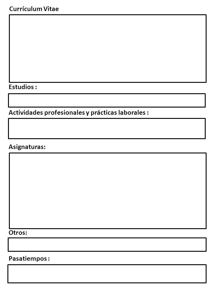 Currículum Vitae Estudios : Actividades profesionales y prácticas laborales : Asignaturas: Otros: