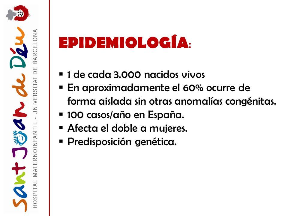 EPIDEMIOLOGÍA: 1 de cada 3.000 nacidos vivos