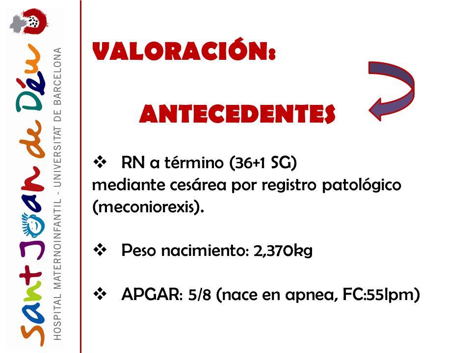 VALORACIÓN: ANTECEDENTES RN a término (36+1 SG)