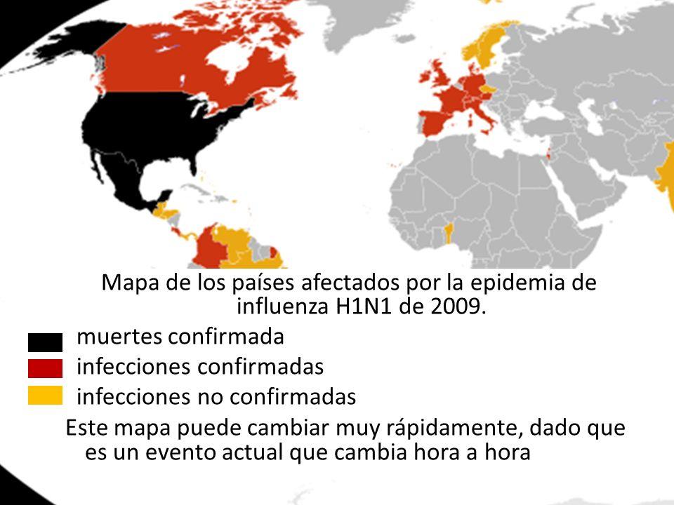 Mapa de los países afectados por la epidemia de influenza H1N1 de 2009