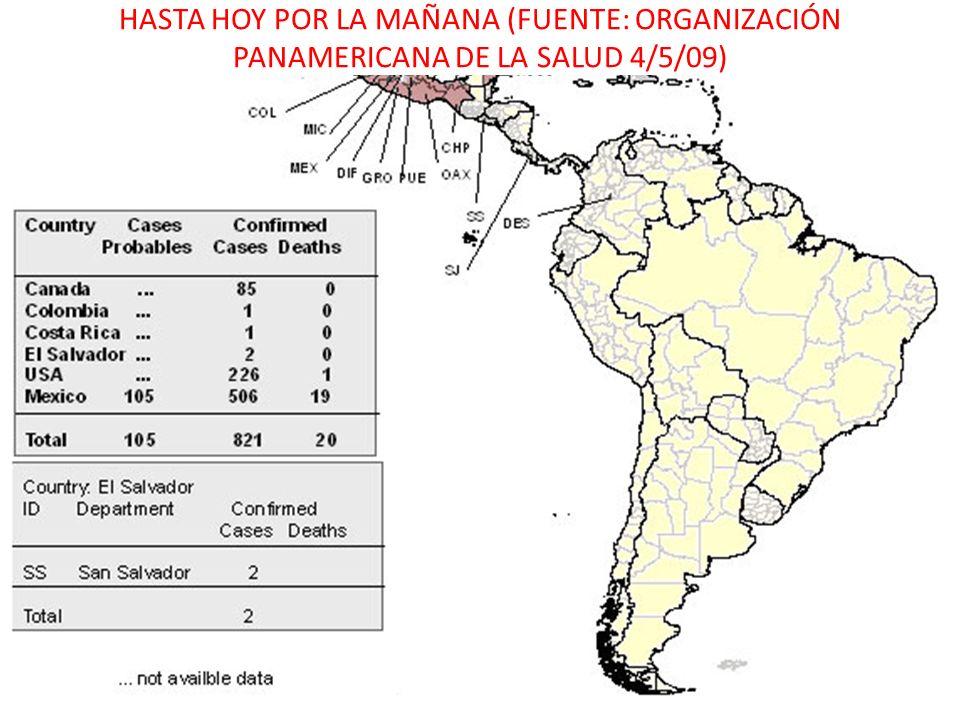 HASTA HOY POR LA MAÑANA (FUENTE: ORGANIZACIÓN PANAMERICANA DE LA SALUD 4/5/09)