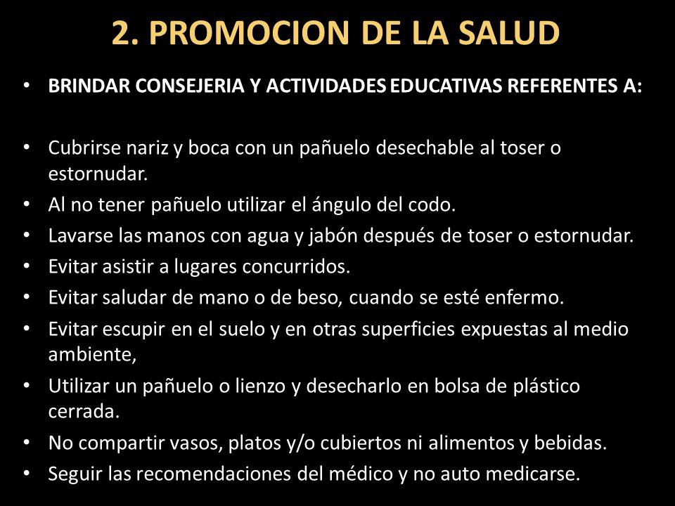 2. PROMOCION DE LA SALUD BRINDAR CONSEJERIA Y ACTIVIDADES EDUCATIVAS REFERENTES A: