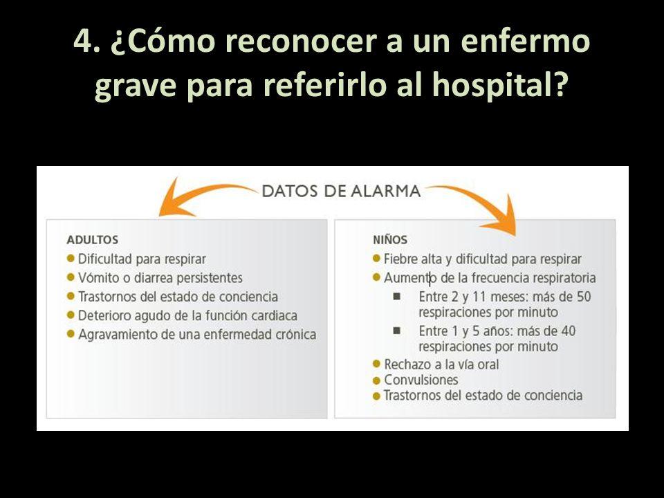 4. ¿Cómo reconocer a un enfermo grave para referirlo al hospital