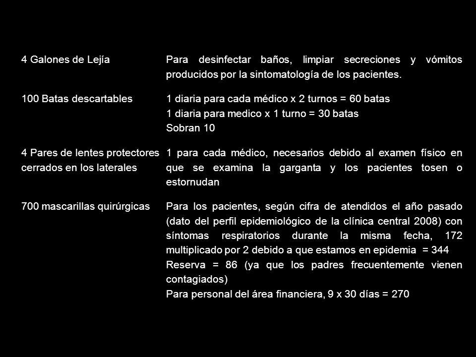 4 Galones de Lejía Para desinfectar baños, limpiar secreciones y vómitos producidos por la sintomatología de los pacientes.