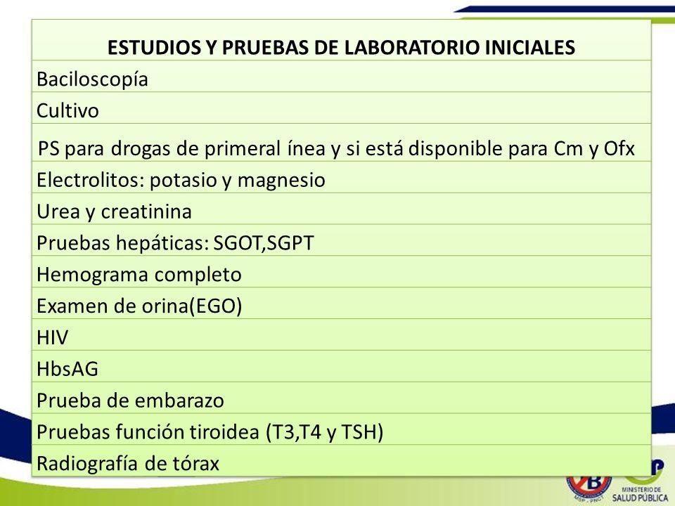 ESTUDIOS Y PRUEBAS DE LABORATORIO INICIALES